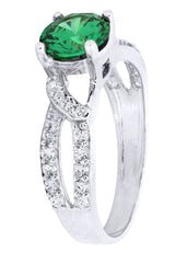 Emerald & Crystal Promise Ring 10K Gold | 2.6 Grams