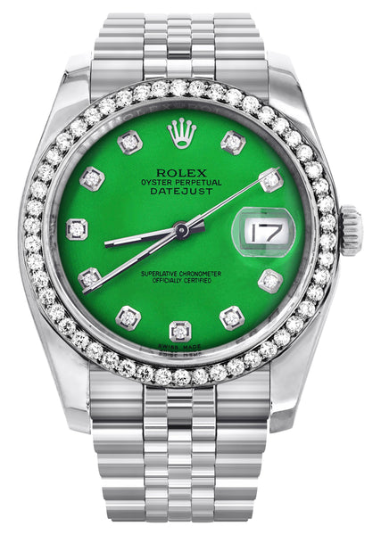 New Style | Hidden Clasp | Rolex Datejust Watch | 36Mm | Green Dial | Jubilee Band