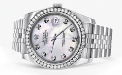 New Style | Hidden Clasp | Diamond Rolex Datejust Watch | 36Mm | White Mother Of Pearl Dial | Jubilee Band CUSTOM ROLEX MANUFACTURER 11