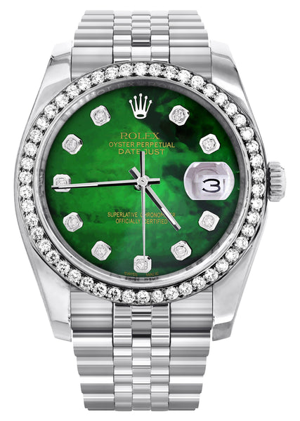 New Style | Hidden Clasp | Diamond Rolex Datejust Watch | 36Mm | Green Diamond Mother Of Pearl Dial | Jubilee Band