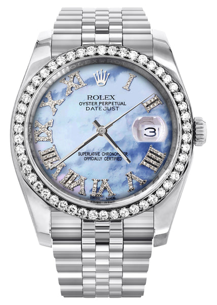 New Style | Hidden Clasp | Diamond Rolex Datejust Watch | 36Mm | Blue Mother Of Pearl Roman Numeral Dial | Jubilee Band