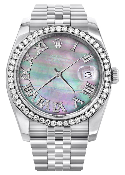 New Style | Hidden Clasp | Diamond Rolex Datejust  Watch | 36Mm | Dark Mother Of Pearl Dial | Roman Numeral | Jubilee Band