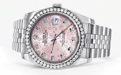 New Style | Hidden Clasp | Diamond Rolex Datejust Watch | 36MM | Pink Flower Diamond Dial | Jubilee Band CUSTOM ROLEX MANUFACTURER 11