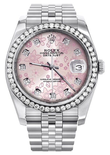 New Style | Hidden Clasp | Diamond Rolex Datejust Watch | 36MM | Pink Flower Diamond Dial | Jubilee Band