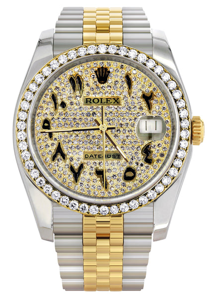 New Style | Hidden Clasp | Diamond Gold Rolex Watch For Men | 36Mm | Black Arabic Full Diamond Dial | Jubilee Band