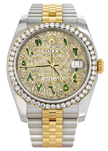 New Style | Hidden Clasp | Diamond Gold Rolex Watch For Men | 36Mm | Custom Green Arabic Full Diamond Dial | Jubilee Band