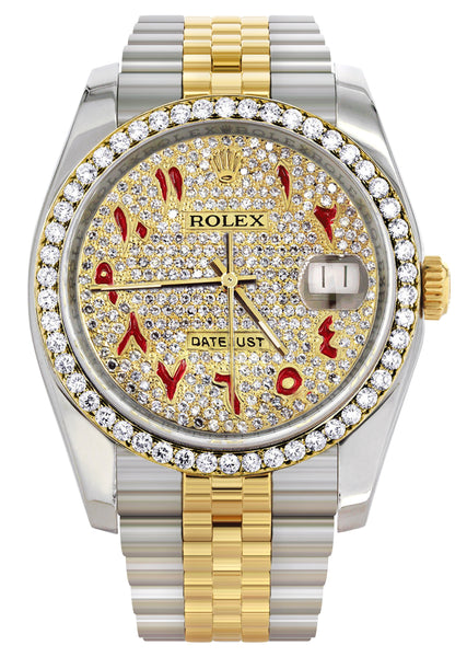New Style | Hidden Clasp | Diamond Gold Rolex Watch For Men | 36Mm | Custom Red Arabic Full Diamond Dial | Jubilee Band
