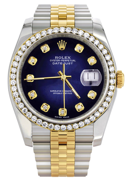 New Style | Hidden Clasp | Diamond Gold Rolex Watch For Men | 36Mm | Blue Dial | Jubilee Band