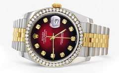 New Style | Hidden Clasp | Gold Rolex Datejust Watch | 36Mm | Red Dial | Jubilee Band CUSTOM ROLEX MANUFACTURER 11