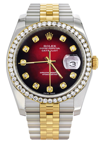 New Style | Hidden Clasp | Gold Rolex Datejust Watch | 36Mm | Red Dial | Jubilee Band