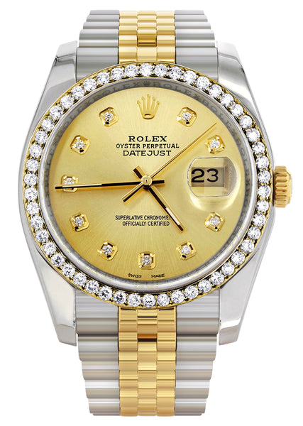 New Style | Hidden Clasp | Gold Rolex Datejust Watch | 36Mm | Gold Dial | Jubilee Band