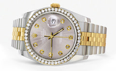 New Style | Hidden Clasp | Diamond Rolex Mens Watch Datejust | 36Mm | Grey Dial | Jubilee Band CUSTOM ROLEX MANUFACTURER 11