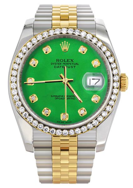 New Style | Hidden Clasp | Gold Rolex Datejust Watch | 36Mm | Green Dial | Jubilee Band