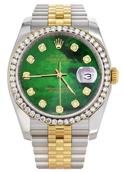New Style | Hidden Clasp | Diamond Rolex Datejust Two Tone | 36MM | Green Diamond Mother Of Pearl Dial | Jubilee Band