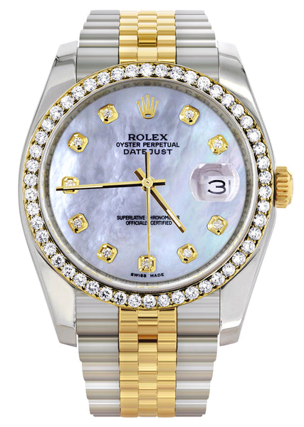 New Style | Hidden Clasp | Two Tone Rolex Datejust Watch | 36Mm | Mother of Pearl Dial | Jubilee Band