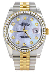 New Style | Hidden Clasp | Two Tone Rolex Datejust Watch | 36Mm | Mother of Pearl Dial | Jubilee Band CUSTOM ROLEX MANUFACTURER 11