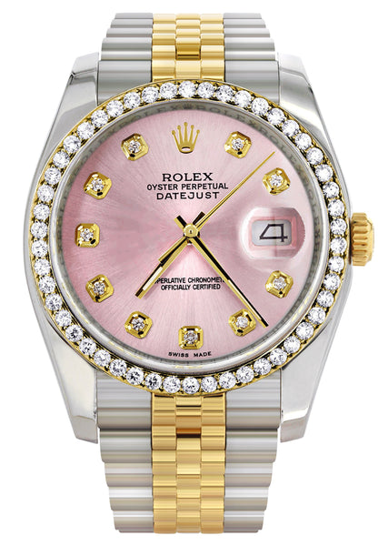 New Style | Hidden Clasp | Gold Rolex Datejust Watch | 36Mm | Pink Dial | Jubilee Band