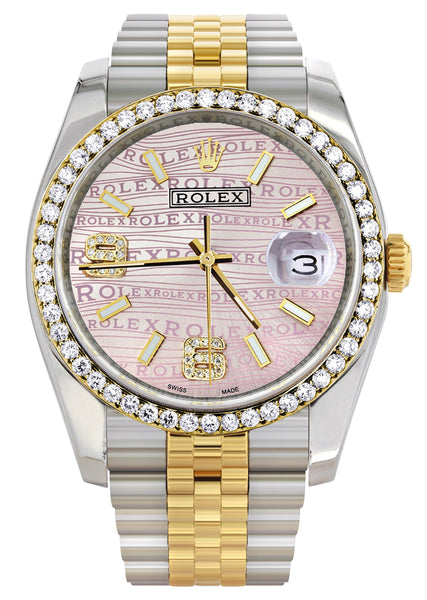 New Style | Hidden Clasp | Gold & Steel Rolex Datejust Watch | 36Mm | Custom Diamond Pink Dial | Jubilee Band