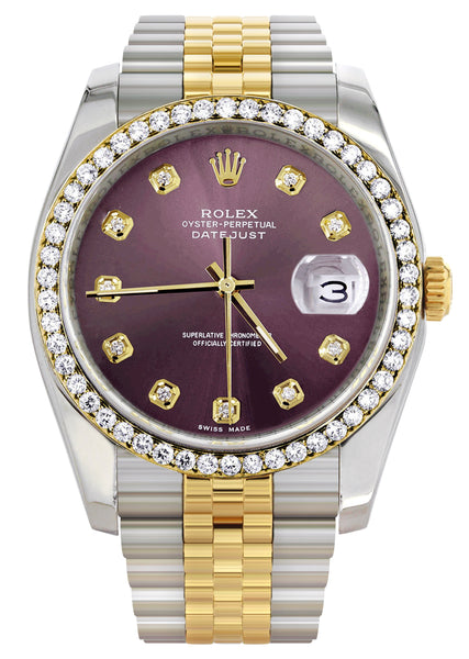 New Style | Hidden Clasp | Diamond Rolex Datejust Watch | 36Mm | Purple Dial | Jubilee Band