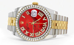 New Style | Hidden Clasp | Gold & Steel Rolex Datejust Watch | 36Mm | Diamond Red Roman Dial | Jubilee Band CUSTOM ROLEX MANUFACTURER 11