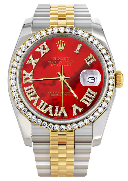 New Style | Hidden Clasp | Gold & Steel Rolex Datejust Watch | 36Mm | Diamond Red Roman Dial | Jubilee Band