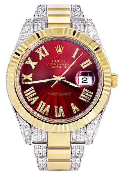 Diamond Rolex Datejust II 41 MM | Stainless Steel & 18K Yellow Gold | Custom Diamond Dial | 7 Carats