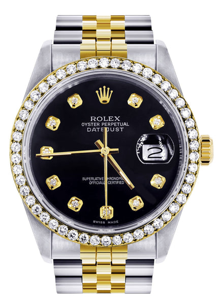 Womens Gold Rolex  Datejust Watch 16233 | 36Mm | Black Dial | Jubilee Band