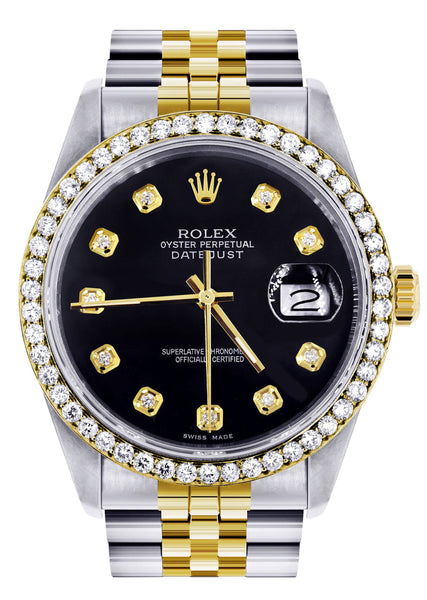 Gold Rolex Datejust Watch | 36Mm | Black Dial | Jubilee Band