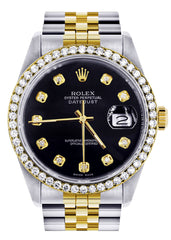 Gold Rolex Datejust Watch | 36Mm | Black Dial | Jubilee Band CUSTOM ROLEX FrostNYC