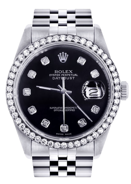 Womens Rolex Datejust Watch 16200 | 36Mm | Black Dial | Jubilee Band