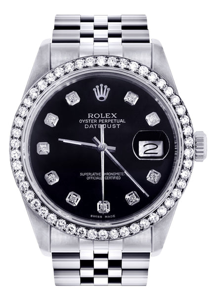 Rolex Datetjust Watch | 36Mm | Black Dial | Jubilee Band