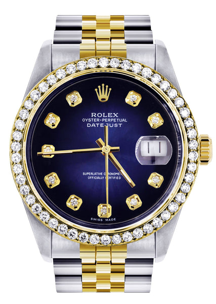 Womens Diamond Gold Rolex Datejust Watch 16233 | 36Mm | Blue Dial | Jubilee Band