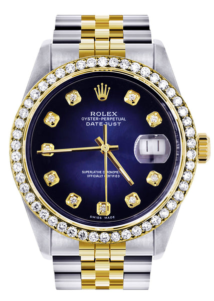 Diamond Gold Rolex Watch For Men 16233 | 36Mm | Blue Dial | Jubilee Band