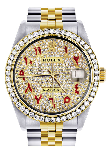 Diamond Gold Rolex Watch For Men 16233 | 36Mm | Custom Red Arabic Full Diamond Dial | Jubilee Band