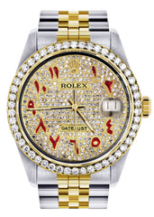 Diamond Gold Rolex Watch For Men | 36Mm | Custom Red Arabic Full Diamond Dial | Jubilee Band CUSTOM ROLEX FROST NYC