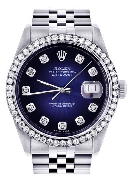 Mens Rolex Datejust Watch 16200 | 36Mm | Blue Black Dial | Jubilee Band