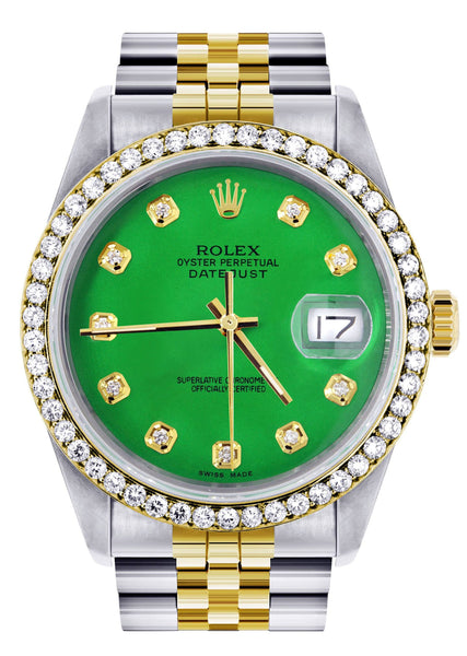 Gold Rolex Datejust Watch 16233 for Men | 36Mm | Green Dial | Jubilee Band