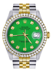 Gold Rolex Datejust Watch | 36Mm | Green Dial | Jubilee Band CUSTOM ROLEX FrostNYC
