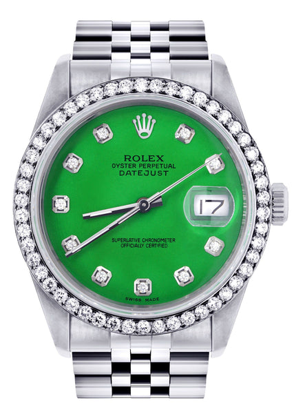 Rolex Datejust  Watch 16200 | 36Mm | Green Dial | Jubilee Band