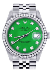 Rolex Datejust Watch | 36Mm | Green Dial | Jubilee Band CUSTOM ROLEX FrostNYC