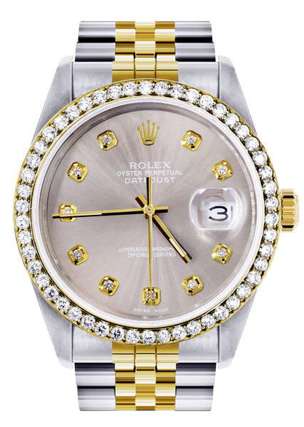 Diamond Rolex Mens Watch Datejust  | 36Mm | Grey Dial | Jubilee Band