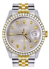 Diamond Rolex Mens Watch Datejust | 36Mm | Grey Dial | Jubilee Band CUSTOM ROLEX FrostNYC