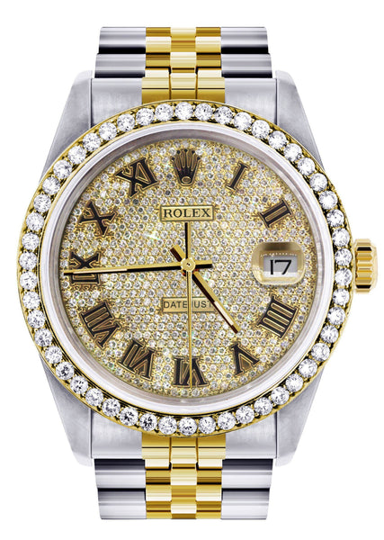 Diamond Gold Rolex Watch For Men 16233 | 36MM | Full Diamond Roman Dial | Jubilee Band