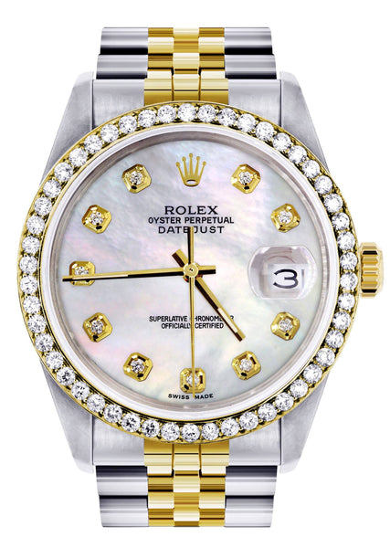 Diamond Gold Rolex Watch For Men | 36Mm | White Mother Of Pearl  | Jubilee Band
