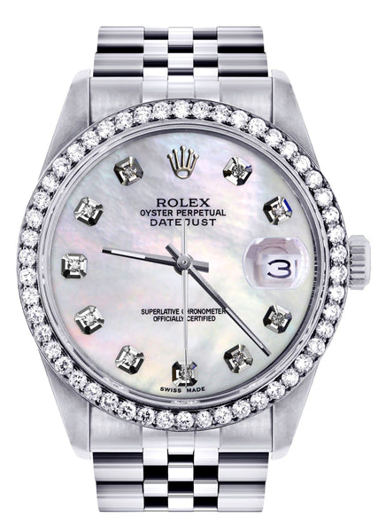 Diamond Mens  Rolex Datejust Watch 16200 | 36Mm | White Mother Of Pearl Dial | Jubilee Band