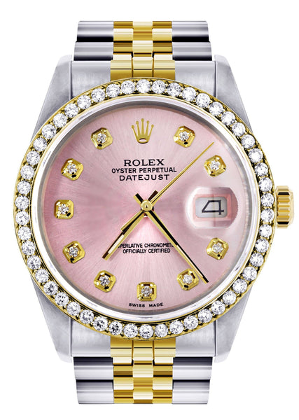 Womens Gold Rolex Datejust Watch 16233 | 36Mm | Pink Dial | Jubilee Band