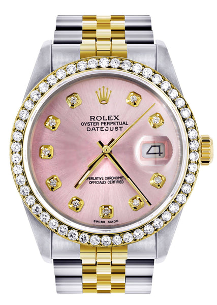Gold Rolex Datejust  Watch | 36Mm | Pink Dial | Jubilee Band