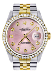 Gold Rolex Datejust Watch | 36Mm | Pink Dial | Jubilee Band CUSTOM ROLEX FrostNYC