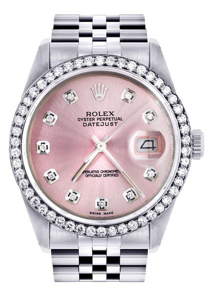Rolex Datejust Watch 16200  | 36Mm | Pink Dial | Jubilee Band