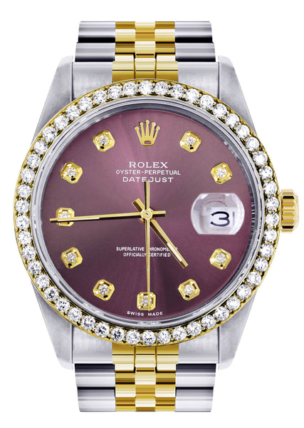 Diamond Rolex Datejust  Watch | 36Mm | Purple Dial | Jubilee Band